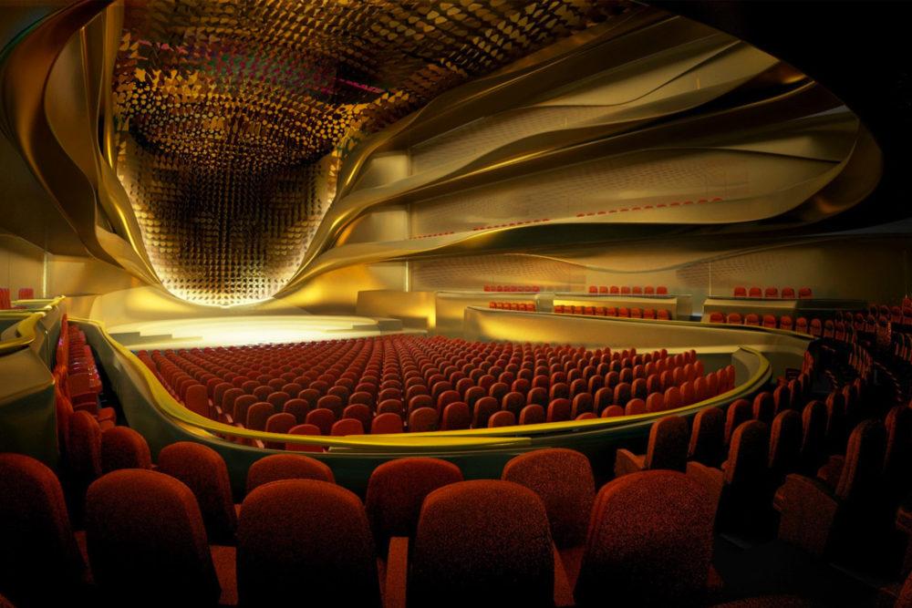 CGI of the concert hall at Sheikh Jaber Al Ahamd Cultural Centre.