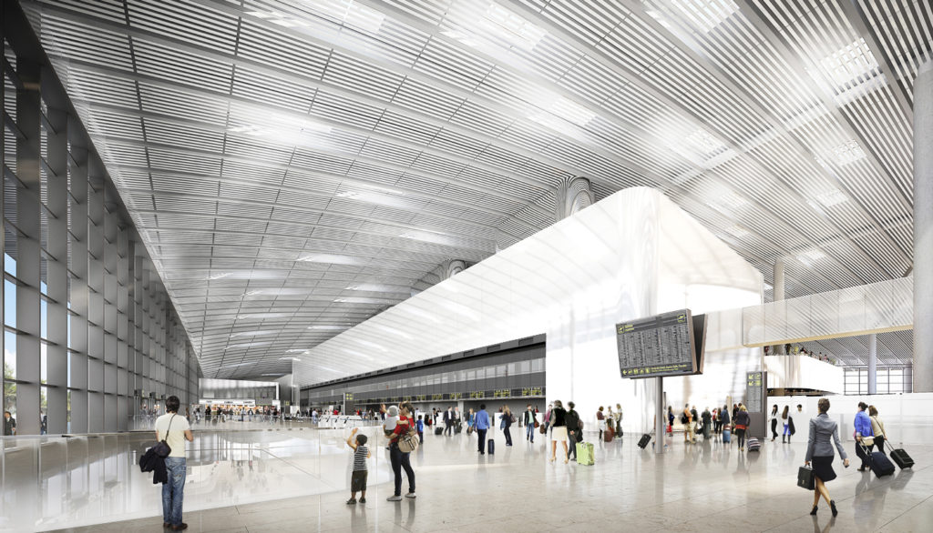 CGI of Tocumen Airport check-in hall.