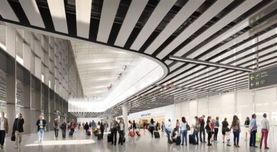 CGI of Tocumen Airport arrivals hall.