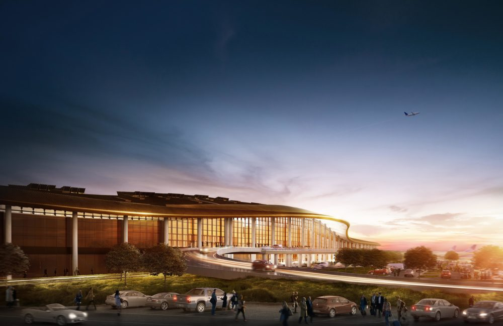 CGI of exterior of Tocumen Airport, Panama at dusk.