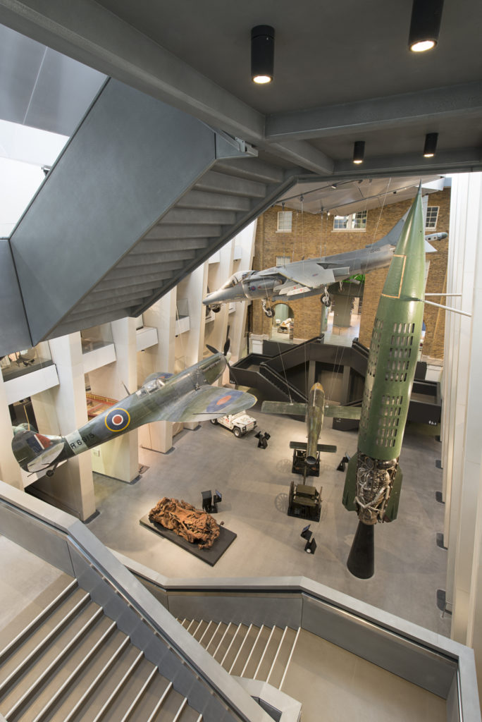 Aerial view of exhibition at Imperial War Museum London.