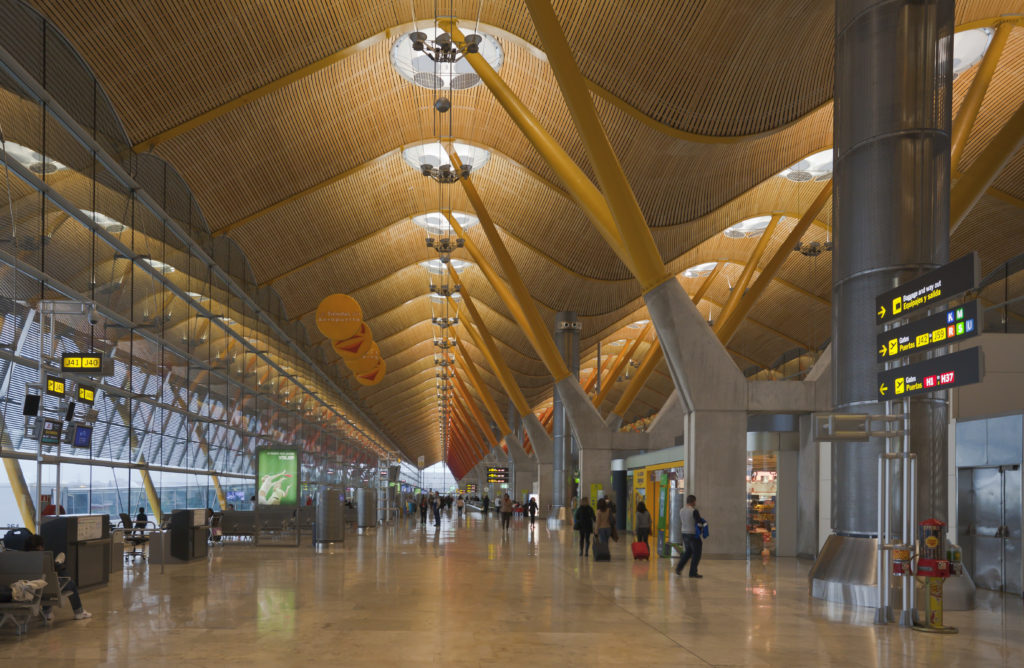 Inside the terminal building. Barajas Airport, Madrid.