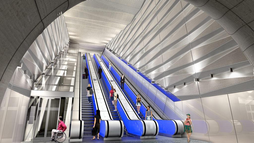 CGI - Escalator at Broadgate station