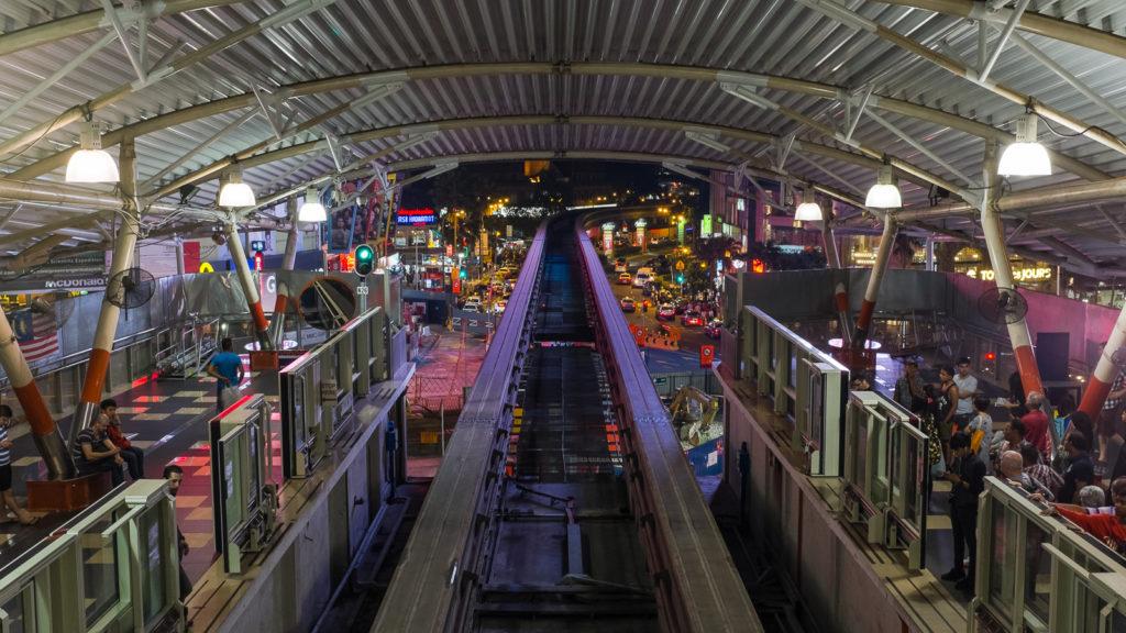 Train station Bukit Bintang in Kuala Lumpur, Malaysia, by night.