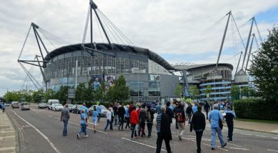 Fans walking to the Etihad Stadium.