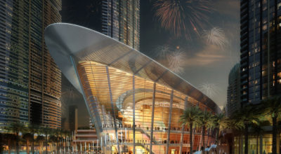 CGI of the Opera House Dubai at night.