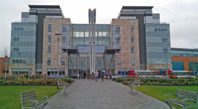 External view of the entrance to Peterborough Hospital.