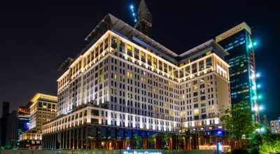 The Ritz Carlton Dubai at night