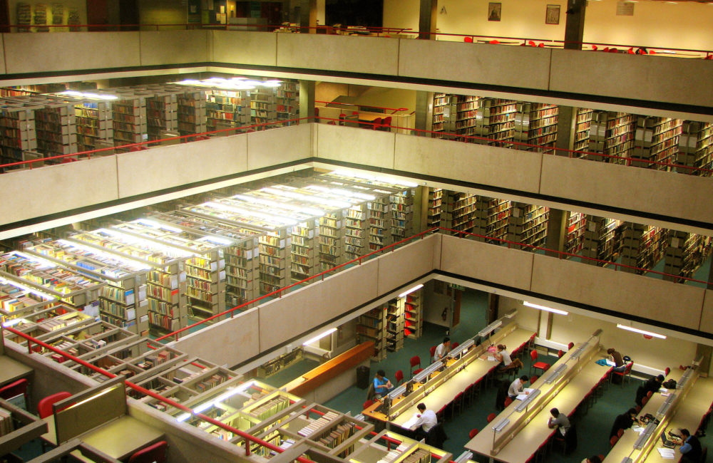 Interior view of the library at the School of Oriental and African Studies.
