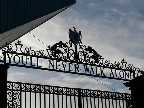 The Shankly Gates at Anfield Stadium.