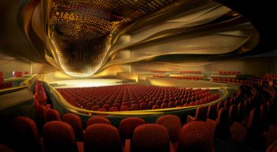 CGI of the concert hall at Sheikh Jaber Al Ahmad Cultural Centre.