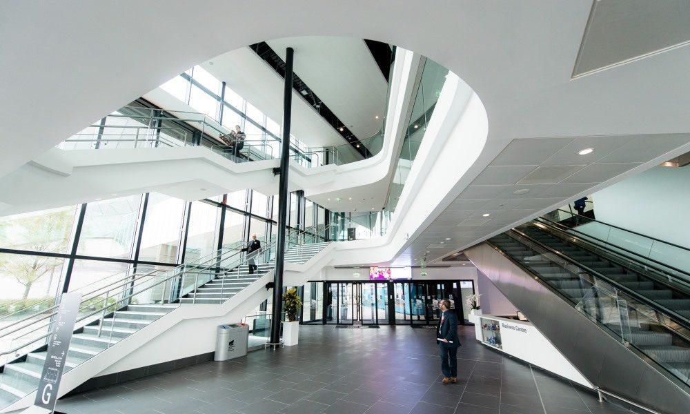 Entrance atrium at Exhibition Centre Liverpool.