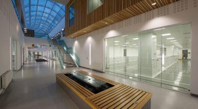 Atrium of the Waters Corporation headquarters.