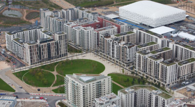 Aerial view of the Olympic Park showing the Olympic and Paralympic Village.