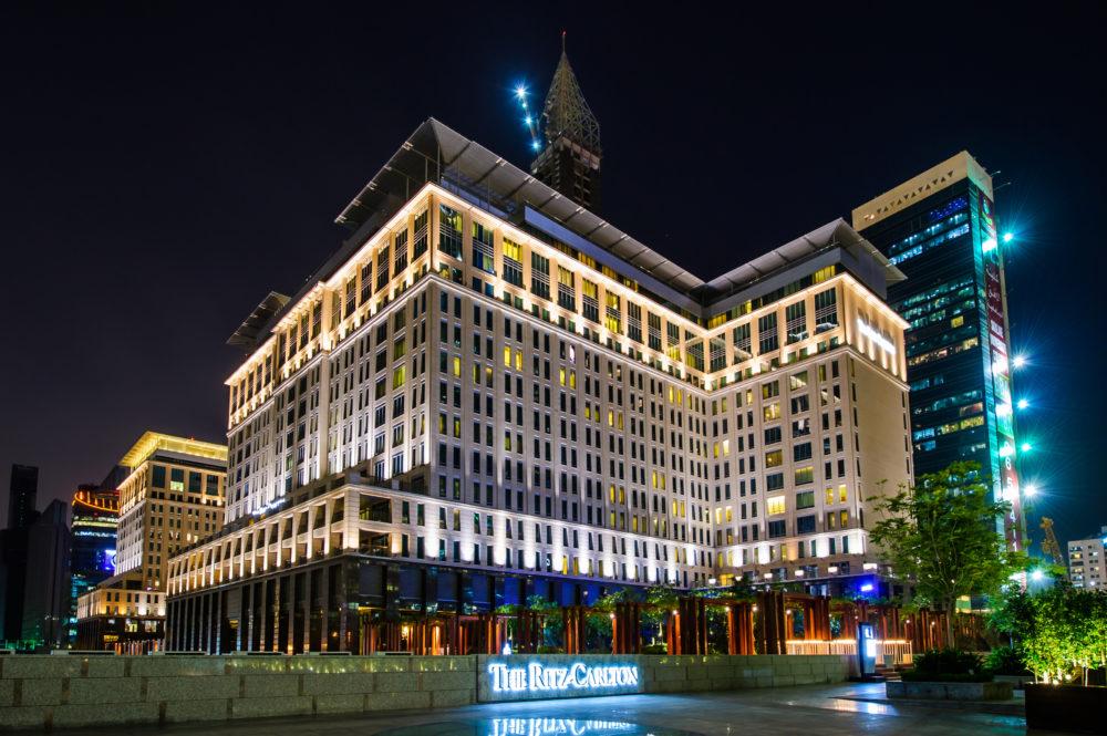 The Ritz Carlton Dubai at Night.