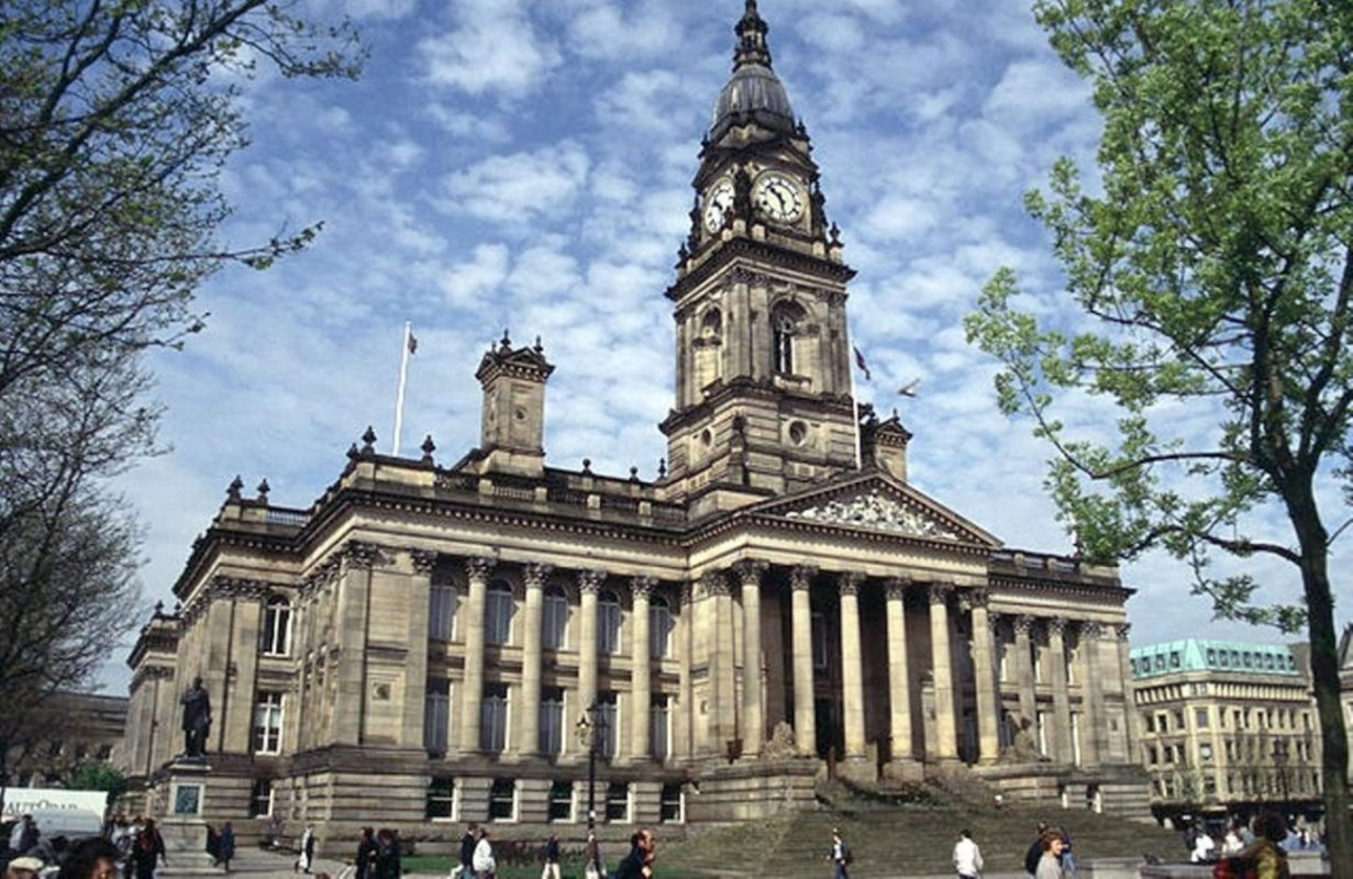 External view of Bolton Town Hall.