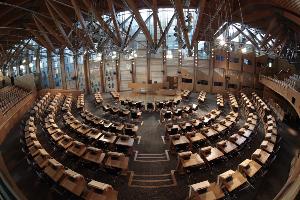 The debating chamber at the Scottish Parliament.